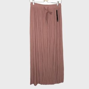 New Mix Rose Gold High-waisted Pleated Maxi Skirt